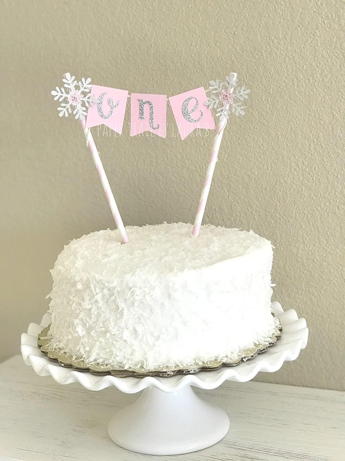 Austin Mall Snowflake Cake Topper. Pink Ranking TOP1 and Party Wonderland Winter Silver D