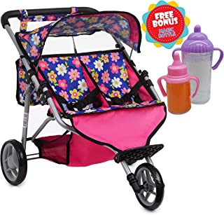Exquisite Buggy, Twin Doll Jogger Stroller Diaper Bag a Carriage Bag 2 Free Magic Bottles Included (Fits Bitty Twins Dolls ) (Flower)
