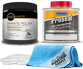 MB-20 Stone Granite Polishing Kit 8.5 Oz Granite Polishing Compound - Tenax Proseal 1/4 Liter -16x16 Microfiber Cloth - Gloves - Bundle - 4 Items