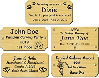 Solid Brass Satin Finish Personalized Custom Laser Engraved Nameplate Label Art Tag Sign Notched Square or Round Corners, Halloween Costume Pumpkin Carving Award Plates, Made in USA