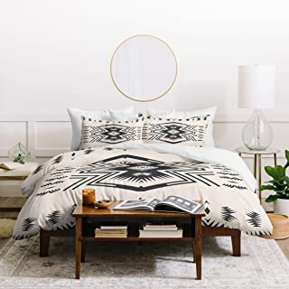 Aztec Tribal Duvet Set Twin XL Size - Off-White, Black, Geometric Bohemian Print - 2 Piece Bed Sets - Southwestern Style Boho Chic Navajo Bedding, Exotic Native American Bedroom - Ultra Soft Polyester