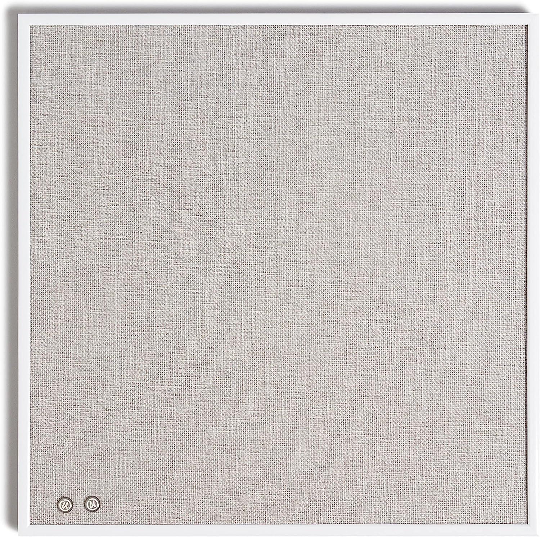 "U Brands Linen Bulletin Board with White Metal Frame, 14"" x 14"""