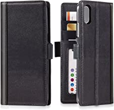 iPulse Journal for iPhone Xs Italian Full Grain Leather Case Handmade Flip Wallet Case for iPhone Xs/iPhone X/iPhone 10 with Magnetic Closure - Black