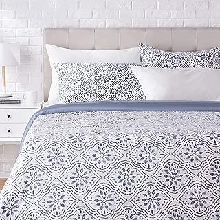 AmazonBasics Super-Soft Cotton Duvet Cover Set - King/Cal King, Blue Textured Ogee
