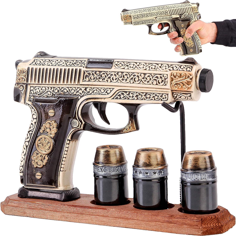 Pistol Mail order 5 popular cheap Gun Decanter Set 500ml 3 for Glasses Alcohol Bullet Shot