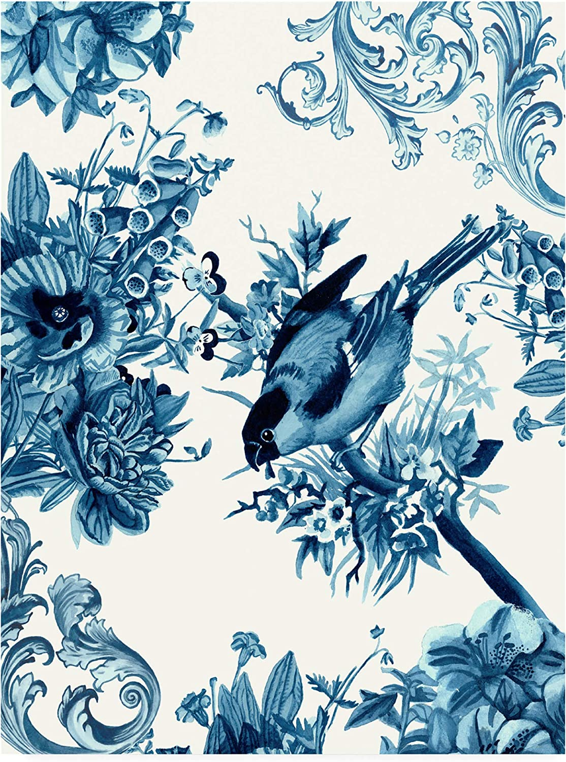 Trademark Fine Art Bird and Branch in Indigo I by Naomi McCavitt, 14x19