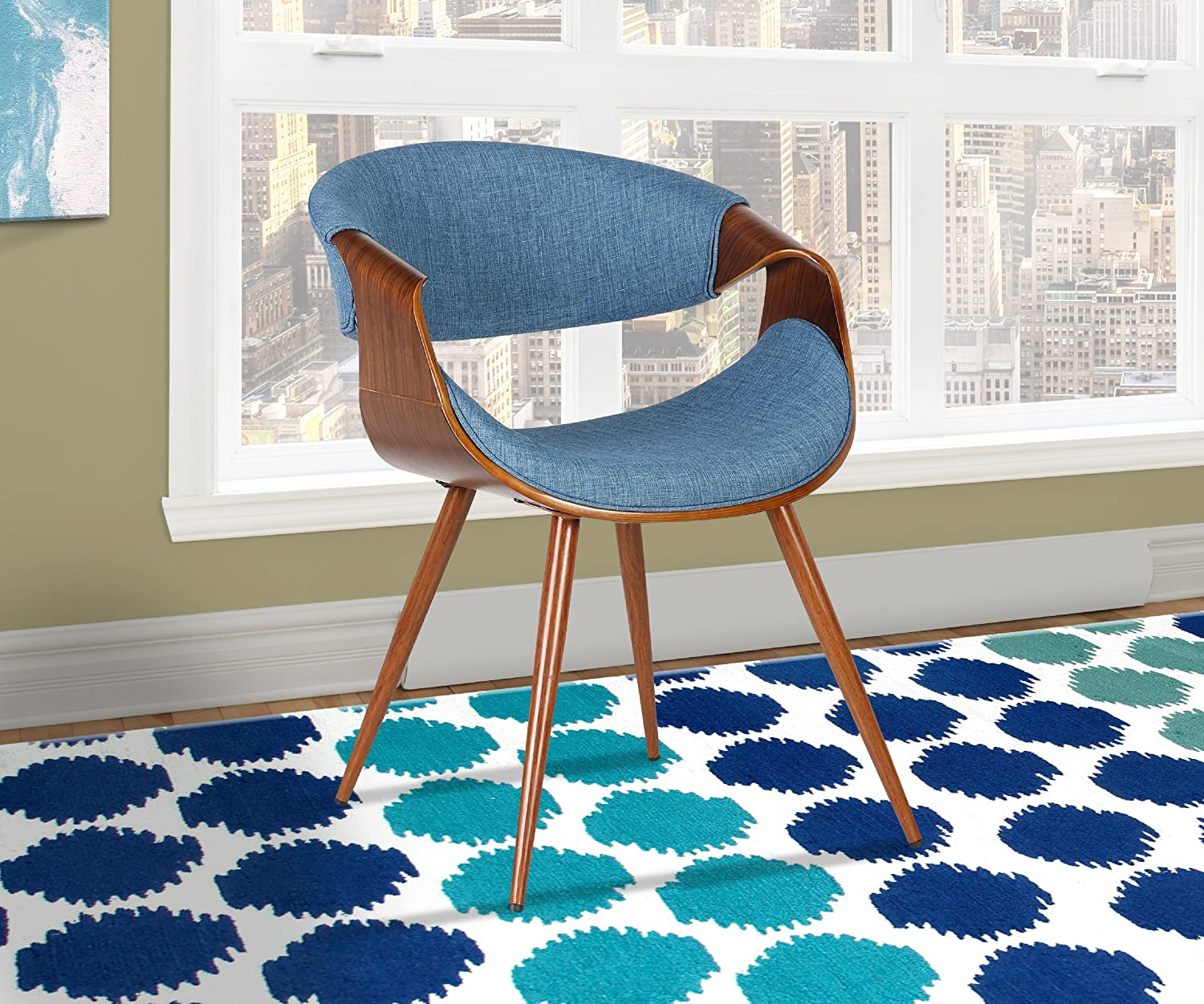 Armen Living LCBUCHWABL Butterfly Dining Chair in bluee Fabric and Walnut Wood Finish