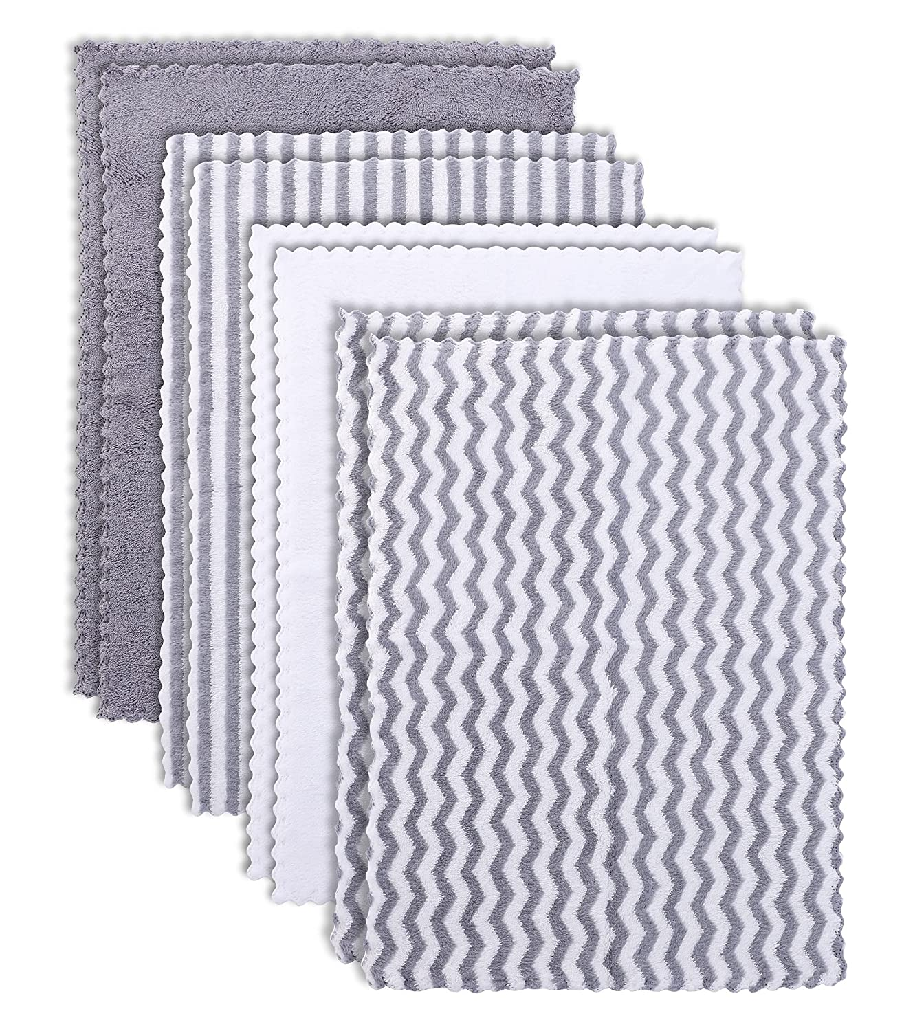 BAMBOO QUEEN 8 Pack Super Soft Baby Burp Cloths, Ultra Absorbent Large Newborn Burping Cloth, Milk Spit Up Rags, Unisex Grey and White, 16 × 12 Inch