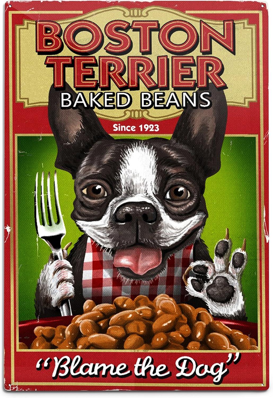 Lantern Press Boston Regular store Terrier Retro Ad 12x18 Beans Baked 55639 online shopping