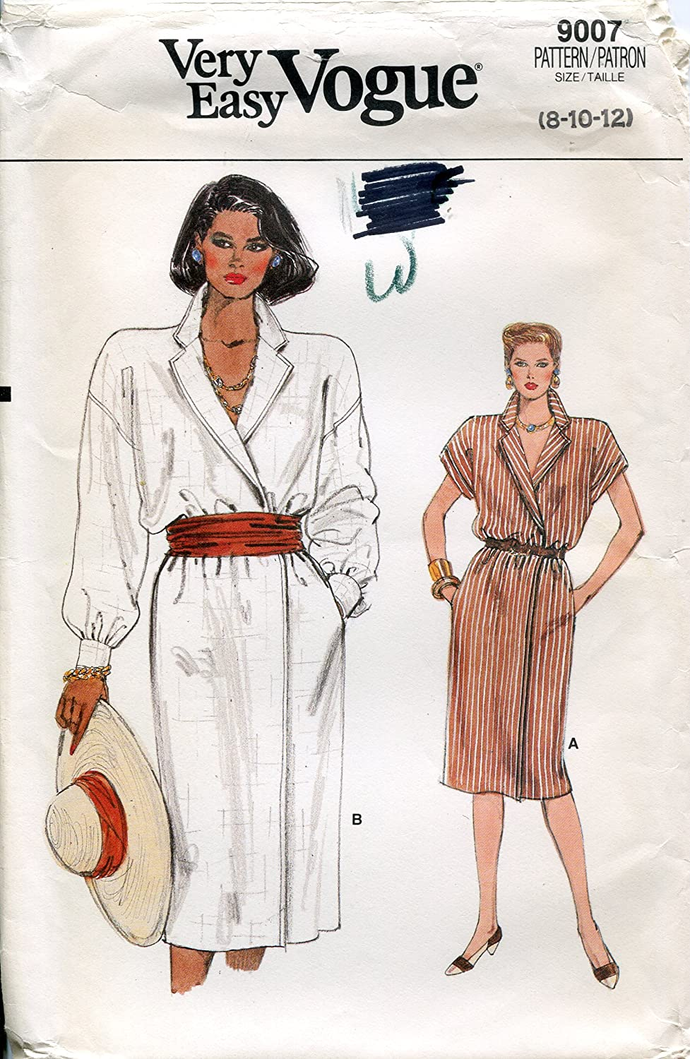 Very Easy Vogue Pattern 9007 Misses' Shirt Dress, Sizes 8-10-12