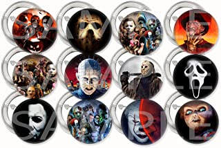 """Horror Movie Icons Buttons Party Favors Supplies Decorations Collectible Metal Pinback Buttons Pins, Large 2.25"""" -12 pcs, Halloween Film Jason Freddy Krueger Leatherface Michael Myers Chucky Pinhead"""