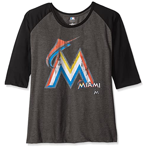 42b22eea8 MLB Miami Marlins Women s 3 4 Sleeved Raglan T-Shirt with Distress Logo