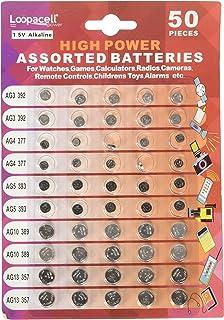 Loopacell High Power Super Alkaline Button Cell Assorted 1.5V Battery AG3/LR41 AG4/LR626 AG5/LR754 AG10/LR1130 AG13/LR44,5...