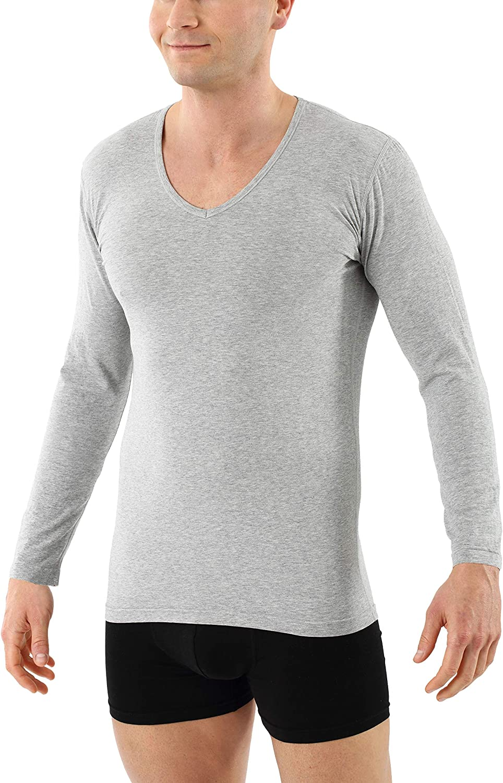 ALBERT KREUZ Men's Longsleeve Undershirt Organic Stretch Cotton v-Neck Gray