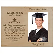 LifeSong Milestones Personalized Graduation Picture Frame Gifts for Graduate Ideas for Men and Women Custom Photo Frame Be Strong and Courageous Joshua 1:9 (Maple)