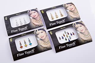 4 Pack Gold, Silver and Multi-color Assorted Size Bollywood Head Bindi Tattoo Indian Art Rhinestone Stickon Reuseable