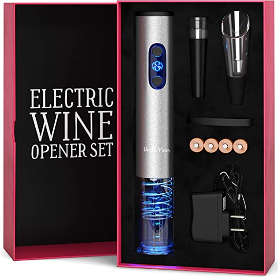 Electric Wine Opener Set with Charger and Batteries- Wine Lover Gift Set - Birthday Wedding Anniversary Holiday Kit with Batteries and Foil Cutter Uncle Viner G105