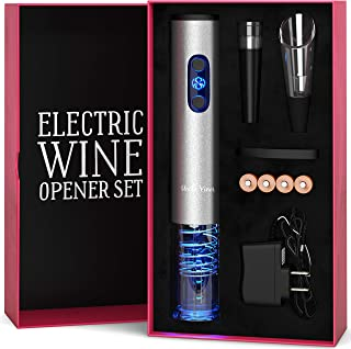 Electric Wine Opener Set with Charger and Batteries- Wine Lover Gift Set - Christmas New Year Holiday Kit with Batteries and Foil Cutter Uncle Viner G105
