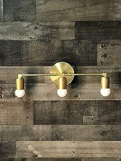 Ragnar Raw Brass Wall Sconce 3 Bulb Bathroom Vanity Light Mid Century Modern Fixture Contemporary Lighting