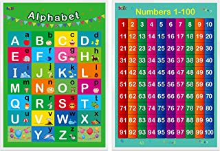 """Alphabet, Numbers 1-100,2 LAMINATED Educational Posters for Toddlers,17"""" X 23"""""""