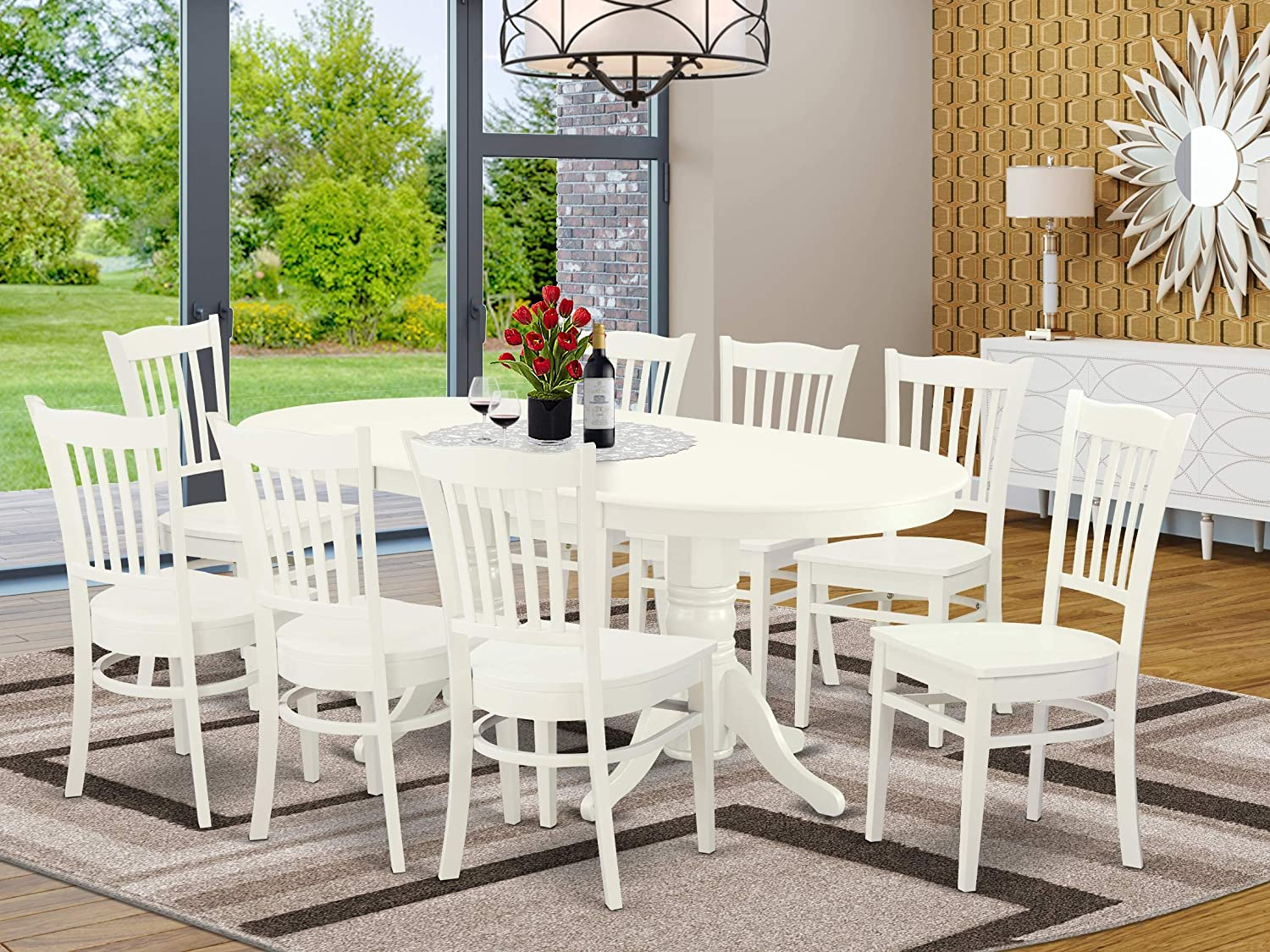 9 Pc Dining-Room Now on sale Tulsa Mall Set-Double Pedestal Oval 8 Se Wood Leaf And