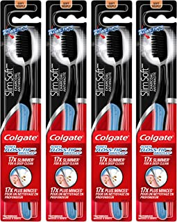 Colgate Slimsoft Floss-Tip Charcoal Toothbrush, Soft (4 Count)