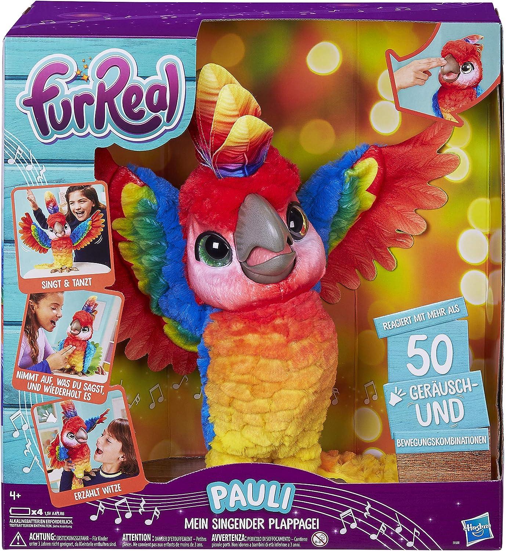 FurReal Pauli – mein singender Plappagei, interaktives Plüschtier, sprechender Papagei, KinderSpielzeug, deutsche Sprachausgabe, Batterien enthalten, ab 4 Jahren