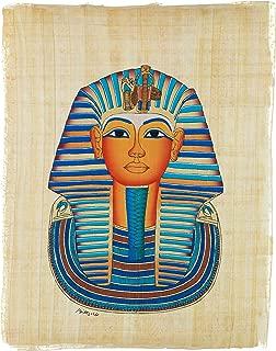 "Leolana Egyptian Papyrus ""Tutankhamun"" Hand Painted Painting on 100% Authentic Egyptian Papyrus Paper-9x13-Multi Color"