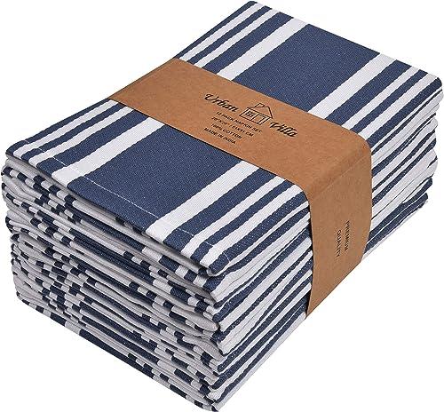 Urban Villa Trendy Stripes, Dinner Napkins, Premium Quality,100% Cotton, Set of 12, Size 20X20 Inch, Indigo Blue/Whit...
