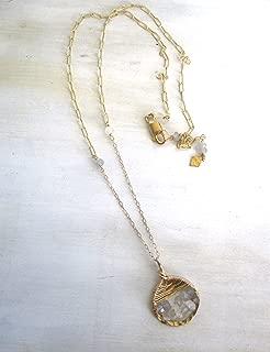 Half Moon Medallion Pendant Necklace, gold filled, gemstones