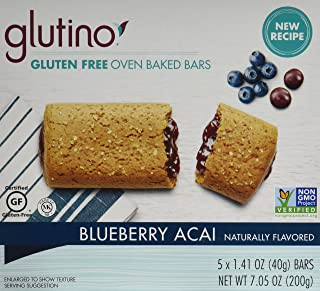 Glutino Gluten Free Breakfast Bars, Blueberry, 5-Count Boxes, 7.05oz, (Pack of 6)