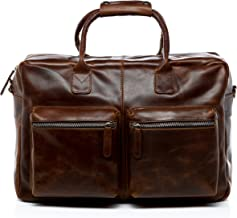 SID & VAIN Laptoptasche echt Leder Brighton XL groß Businesstasche Umhängetasche Aktentasche 15.6 Ledertasche Herren braun