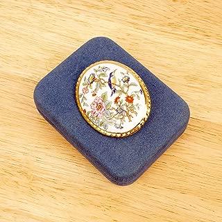 Aynsley Fine Bone China Medallion/Brooch    Floral and Bird Design    Vintage Brooch    Blue Fabric Box
