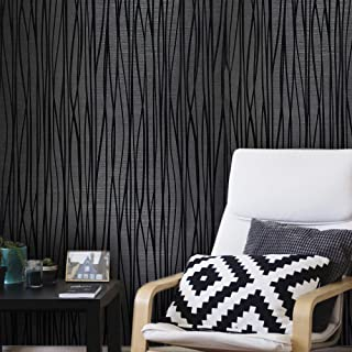 76 sq.ft rolls Portofino wallcoverings modern embossed flocked Vinyl Non-Woven Wallpaper charcoal black silver metallic flocking flock lines soft velvet waves textured coverings 3D paste the wall only