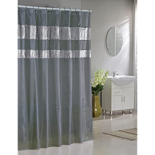 Duck River Faux Silk Fabric Shower Curtain Shimmering Metallic Accents Silver Gray