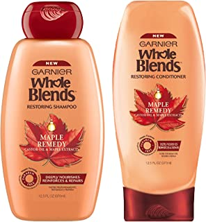 Garnier Whole Blends - Maple Remedy - Paraben Free Vegan Formula - Shampoo & Conditioner Set - Net Wt. 12.5 FL OZ (370 mL)...