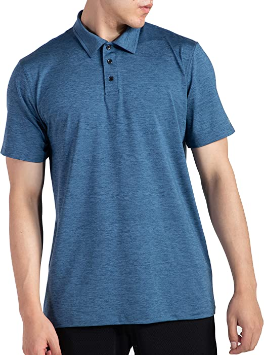 ARECON Mens Polo Shirt Sports Golf T-Shirts Stretch Quick Dry Sweat Wicking Casual Fit for Running Jogging Gym Training