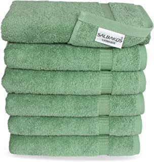 SALBAKOS Luxury Hotel & Spa Collection Towels - 100% Turkish Cotton - Made in Turkey - 4 Colors to Choose from- 700gsm Plush (Green, Hand Towel - Qty 6)