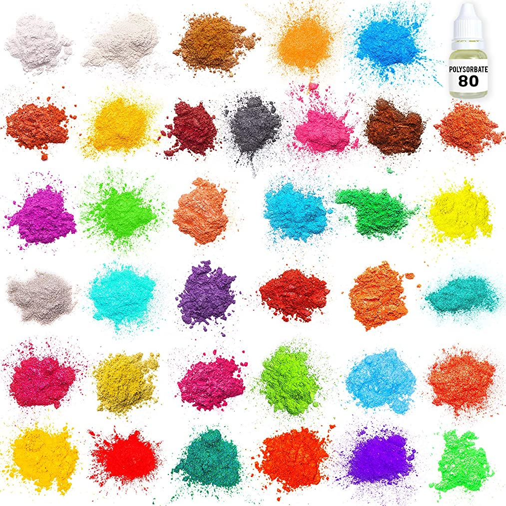 Mica Powder Resin Dye – Big Pack of 8 Powdered Pigments +2 Glitters – Best Colors - Soap Dye – Hand Soap Making Supplies