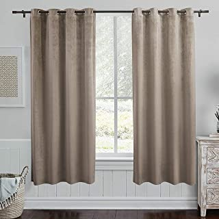 PY Home & Sports Taupe Velvet Curtains 84 Inches- Room Darkening Curtains Grommet Blackout Window Treatment for Living Roo...
