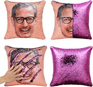 Merrycolor Mermaid Pillow Cover, Jeff Goldblum Magic Reversible Sequin Pillow Cover Throw Cushion Case Decorative Pillowcase That Change Color(J Jeff Goldblum #1- Purple Sequins)