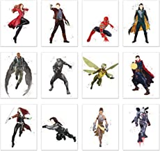 Watercolor Avengers End Game Poster Prints - Set of 12 (11x14) Glossy Marvel Wall Art - Doctor Strange - Black Panther - Scarlet Witch - Loki - Starlord - Shuri - Spiderman - Winter Soldier - Gamora