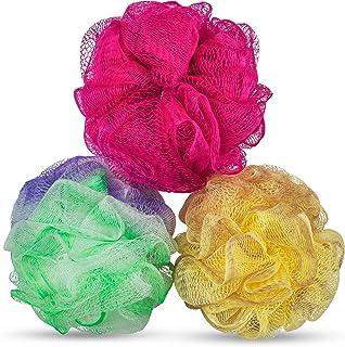 DecorRack 3 Bath Body Sponges, Durable, Soft Mesh Pouf Sponge Loofah Scrubber, Exfoliate, Rejuvenate, Feel Fresher and Cle...