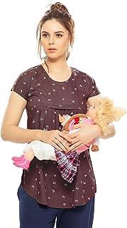 3998f07538318 ZEYO Women's Rayon Cotton Maternity Top | Brown & Peach Printed Feeding Top