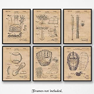 Original Baseball Patent Poster Prints, Set of 6 (8x10) Unframed Photos, Great Wall Art Decor Gifts Under 20 for Home, Office, Garage, Gym, College, Man Cave, Student, Teacher, Coach, Sports & MLB Fan