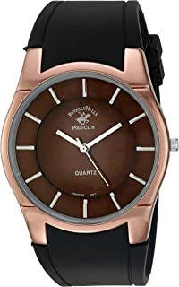 Men's Beverly Hills Polo Club Analog-Quartz Watch with Rubber Strap, Black, 29 (Model: 52579)