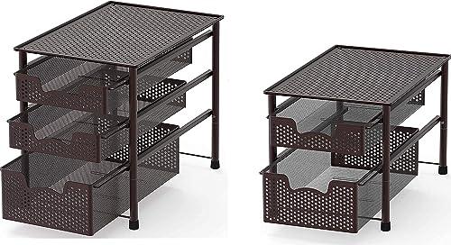 popular SimpleHouseware outlet sale Stackable 2 Tier Sliding Basket + 3 Tier online sale Sliding Basket Bronze online sale