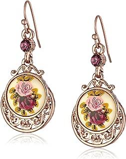 1928 Jewelry Rose Gold Amy Flower Dangle Earrings