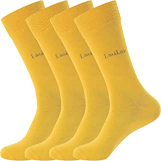 Laulax 4 Pairs Finest Combed Cotton Dress Socks in 8 Designs