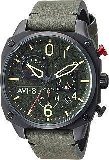 AVI-8 Men's Hawker Hunter Stainless Steel Japanese-Quartz Leather Strap, Green, 21.5 Casual Watch (Model: AV-4052-08)